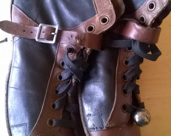 Vintage Black and Brown Leather Ice Skates--Made in Canada