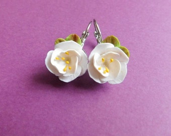 Flower earrings Sakura Earrings Sakura Jewelry Polymer earrings Polymer sakura Polymer Jewelry.