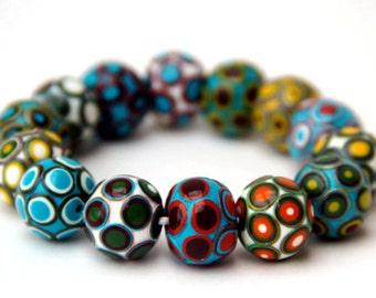 Boho bracelet Statement bracelet Beaded bracelet Modern design Multicolored beads bracelet Polymer clay bracelet Unique jewelry for her
