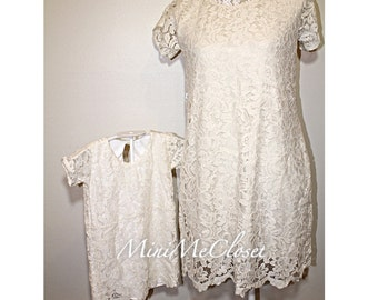 Matching Mother and Daughter Cream Lace Dresses