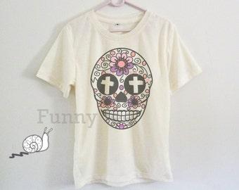 Cross Flower skull tshirt toddlers boys girls clothing **short sleeve shirt **crewneck **off white t shirts