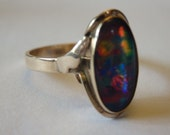 Sale! antique black opal ring, 9kt yellow gold, size 61/2