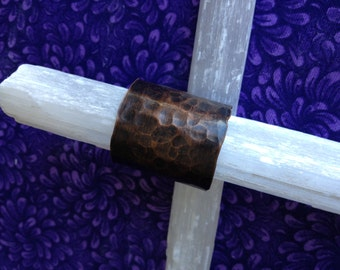 timber - hand hammered copper wide band ring - free US shipping