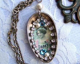 Spoon Necklace, Blue Swarovski Crystals, Pearls, Rhinestones, Vintage Image, Vintage Lady, Sassy Quote Saying