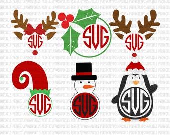 Christmas Monogram Reindeer Monogram Snowman Elf SVG Holly Monogram SVG File dxf eps SVG files Silhouette Cameo Cricut Explore Christmas