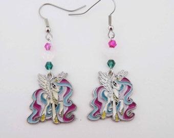 My Little Pony Princess Celestia Swarovski Crystal earrings cosplay pony jewelry
