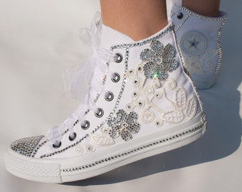 Romantic wedding converse, High top  wedding trainers with  crystals, lace & pearls. Wedding trainers,  wedding tennis shoes