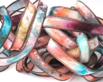 Hand dyed silk ribbon- habotai- silk wrap- silk wrap bracelet-satin-tie dye-olive-petrol-fuchsia-bordeau