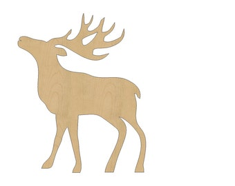 Reindeer Cutout Shape Laser Cut Unfinished Wood Shapes, Craft Shapes, Gift Tags, Ornaments #793 All Sizes