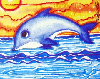 Dolphin print,Dolphin gift, Nursery Print,Dolphin Gift,Original Print,Art Block,Art and Collectables,Childrens Gift, Dolphins,Nursery Decor