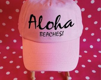Aloha Beaches Hat. Aloha Hat. Hawaii Hat. Vacation Hat. Beach Hat. Adjustable Hat. Baseball Cap.