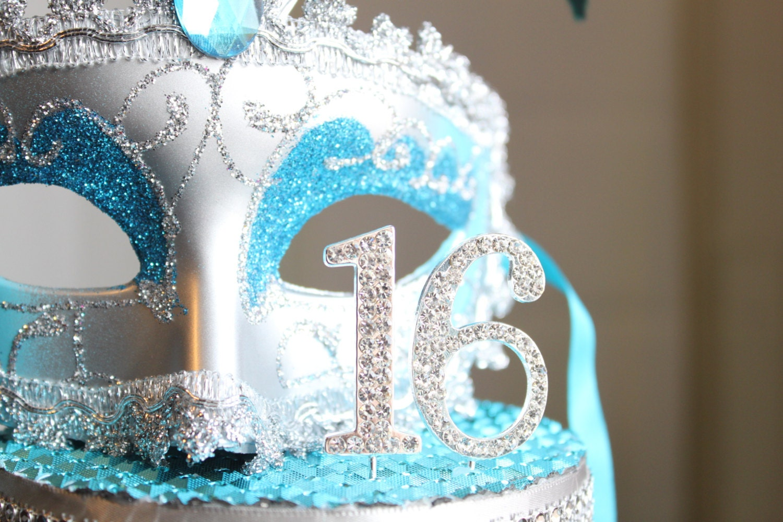 Masquerade Mask Rhinestone Sweet 16 Cake Topper Turquoise