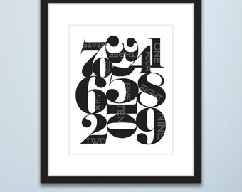 Nursery Wall Art, Numbers Art, Printable art, Black &White Poster, Wall Art, Abstract art, Wall Decor, Gift, INSTANT DOWNLOAD