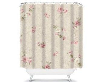shabby chic shower curtain, rose shower curtain, floral shower curtain, shabby chic bathroom decor, rose decor, pink shower curtain