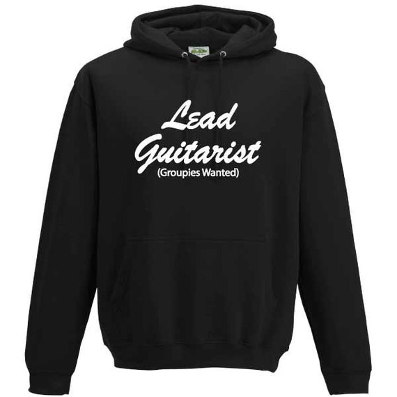 Lead Guitarist Groupies Hooded Sweatshirt. Unisex Long Sleeved Quality Hooded Sweater. Cool Guitarist inspired design
