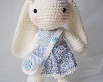 Crochet Bunny Amigurumi Long Eared Rabbit Baby Shower Gift Doll with Liberty Lawn clothes