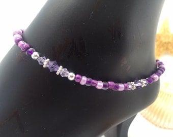 Ankle Bracelet Anklet Purple Anklet Ankle Bracelet Sworovski Crystals (Ank 34)