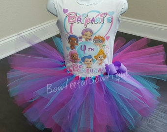 Bubble Guppies Tutu set, Bubble Guppies Birthday Outfit, Oona Molly Deema Birthday shirt, ANY AGE and COLORS!