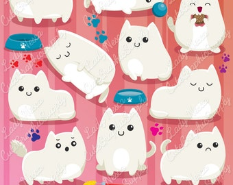 Cats clipart, cute cats, kitties clipart, cats, white cat, cute clipart -LN0133-