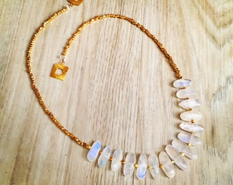 Rainbow Moonstone Fringe Necklace