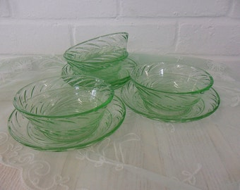 Vintage Green Glass Dessert Set