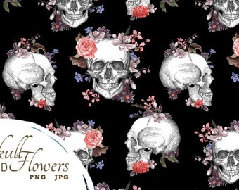 Skull and Flowers digital printable paper, cards with design composition elements, small commercial use