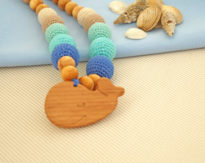 Nursing necklace / Teething necklace / Breastfeeding necklace with a pendant - Sea side