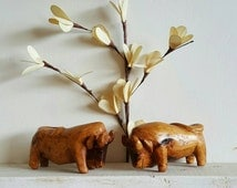 Oxen Pair Mid Century Wooden Ox Handcarved Cow Bull Wood Figures Matching Hand Carved Home Decor Figure