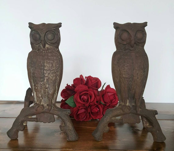 Antique Owl Fireplace Andirons Cast Metal Natural Rusty