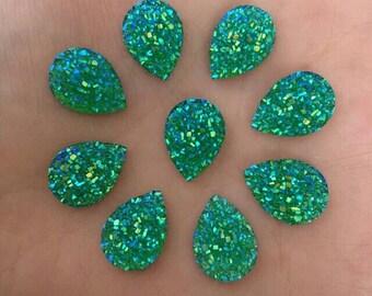 14mm x 10mm Teardrop Druzy Cabochon Faux Druzy Cabochons Iridescent Green Resin Teardrops Kawaii Cabs Jewelry Supplies Earring Findings