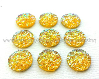 10-50pcs 12mm Druzy Cabochon Faux Druzies Cabochons Resin Glitter Cabochon Cellphone Deco Earring Finding Scrapbooking Iridescent Faux Druzy