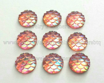 10mm Mermaid Cabochon Mermaids Tail Cabochons Dragon Egg Scales Fish Scale Resin Kawaii Cabs Iridescent Deco Earring Findings Jewelry Supply