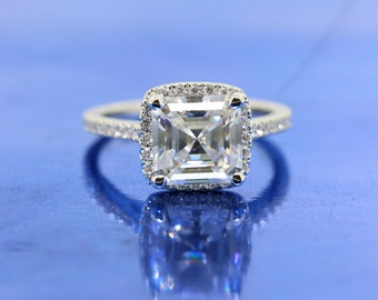 Charles & Colvard 8x8mm Classic Forever One Asscher Moissanite Halo Diamond Engagement Ring In 18k White Gold.
