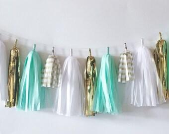 Tissue Tassel Garland  //  Mint  //  Stripes  //  Gold  //  Baby Shower  //  Bridal Shower  //  Nursery Decoration