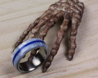 Handmade Ring With Stainless Steel Insert  (Pearl White With Blue Stripe)