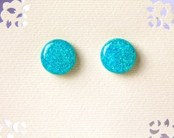 Free shipping Earrings Ocean blue glitter post earrings light blue stud earrings blue glitter earrings friendly unique gift for her