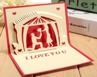 3D Valentine Anniversary I Love You 3D Pop Up Card