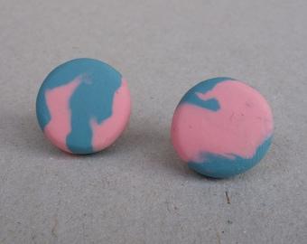 Stud earrings - polymer clay stud earrings - polymer clay marbled earrings - handmade earrings -polymer clay jewellery/jewelry-FREE shipping