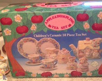 Vintage Apple & Dumpling Children's Ceramic 12 Piece Tea Set