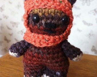 Amigurumi Crochet cutie Wicket the Ewok from Star Wars-removable hood-Hand made soft toy