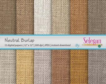 "burlap digital paper "" Neutral Burlap "" digital scrapbook paper earthy printable pattern 12x12 backdrop texture background"