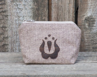 Light Brown Wristlet, Zipper Purse, Kalocsai Motif Wallet, Hungarian Embroidery Cosmetic Bag, Pochette, Bag Order, Pouch