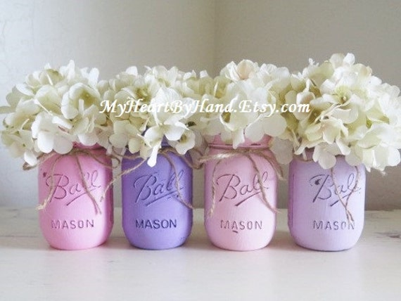 baby shower centerpieces mason jar centerpieces pink and purple