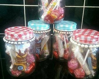 Sweet filled mason jars with hot chocolate sachet / free bracelet