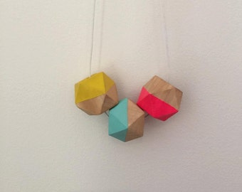 Wooden bead necklave // Geometric colourful chunky necklace //hand painted wooden bead necklace // hot pink aqua and yellow