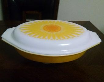 PYREX Sunflower 1 1/2 Qt. Divided Casserole Dish