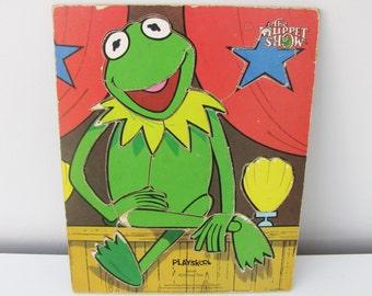 Vintage Wooden Kermit the Frog Muppet Show Puzzle Playskool 1977 Jim Henson Muppets TV Film Movie Retro Kids Child Children Toy