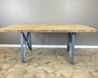 Reclaimed Wood Dining Table with our Morgan Design Leg Base Collection