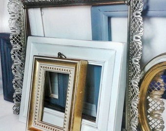 Distressed PICTURE FRAMEs / Set of 7/ Shabby Chic Wedding / Nursery Room Collection/ Gallery Wall Frames + Bonus Mirror