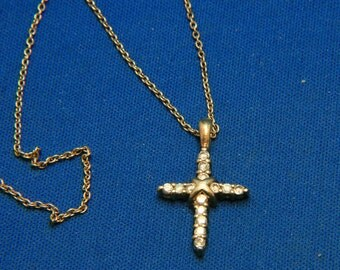 Vintage 925 Sterling Silver Rhinestone Cross Pendant Necklace